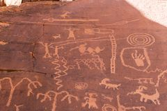 Free Ageless Petroglyphs On The Canyon Walls In Red Rock Canyon. Royalty Free Stock Photo - 141027495