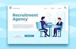 Agence de recrutement Calibre en ligne de page d'atterrissage d'emploi d'affaires, de conclusion et de location des employés d'ag illustration libre de droits