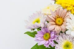 Agencement coloré de bouquet de fleur dans le vase d'isolement sur le blanc Images stock