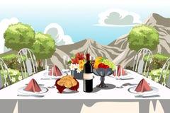 Agencement de table de réception de jardin illustration stock