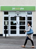 Agencia de empleo más oficina del desempleo Imagenes de archivo