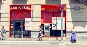 Agencia de la compañía Bankinter, compañía de actividades bancarias española Imagen de archivo libre de regalías