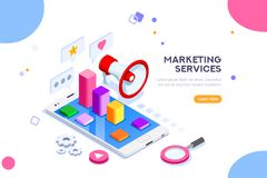 Agency and Digital Marketing Concept. Social media for web. Can use for web banner, infographics, hero images. Flat isometric vector illustration isolated on Stock Photos