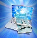 Agency Online Travel Insurance. A travel insurance brochure and model airplane coming out of a laptop computer that has a world map on the screen Royalty Free Stock Photography