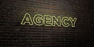 AGENCY -Realistic Neon Sign on Brick Wall background - 3D rendered royalty free stock image Stock Images
