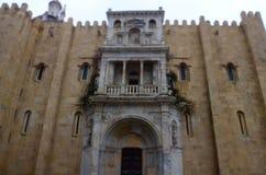 Agencyjny bank Portugalia w pięknym kwadracie z Joaquim Augusto statuą, Coimbra Fotografia Royalty Free