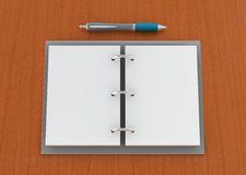 Agenda. One 3d render of an agenda with pen on a wooden plane Royalty Free Stock Photos