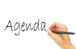 Agenda. Handwritten on a whiteboard royalty free stock images
