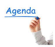 Agenda. Title isolated on white stock photography