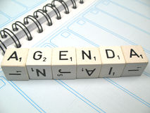 Agenda. The word agenda spelled out on an agenda royalty free stock photography