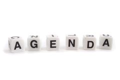 Agenda. Several dices with characters show the word agenda. All isolated on white background royalty free stock photo