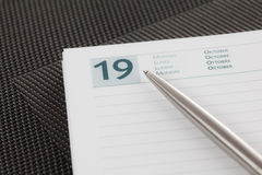 Agenda. Close-up on an open agenda. Blank page stock image