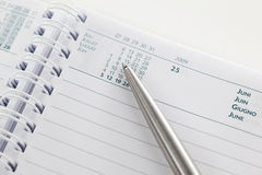 Agenda. Close-up on an open agenda. Blank page Royalty Free Stock Images