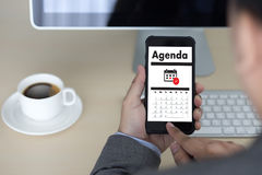 Agenda Activity on conputer Business man Making Agenda Informati Royalty Free Stock Images