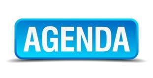 Agenda błękitny 3d realistyczny kwadratowy guzik Obrazy Stock