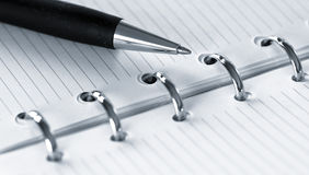 Agenda and ball pen Stock Photography
