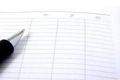 Agenda and ball pen Royalty Free Stock Images