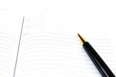 Agenda and ball pen Royalty Free Stock Image
