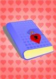 Agenda bleu avec un cadenas sur de petits coeurs illustration stock
