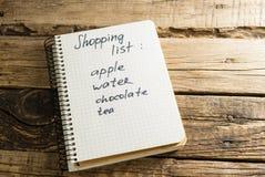 agenda bloc-notes Une note Liste d'achats Photographie stock libre de droits