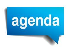 Agenda blue 3d realistic paper speech bubble Stock Photos