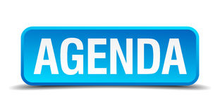 Agenda blue 3d realistic square  button Stock Images