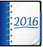 2016 agenda. Blue office notebook. Royalty Free Stock Photos