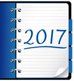 2017 agenda. Blue office notebook. Royalty Free Stock Images