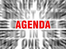 Agenda. Blurred text with focus on vector illustration
