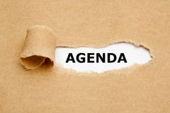 Agenda Brown Torn Paper Concept Royalty Free Stock Images