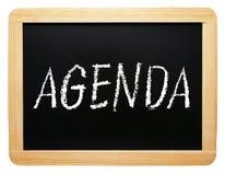 Agenda - chalkboard z tekstem na białym tle Obraz Stock