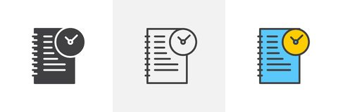 Agenda with clock icon. Line, glyph and filled outline colorful version, Time management outline and filled vector sign. Symbol, logo illustration. Different vector illustration