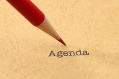 Agenda. Close up of Agenda text stock photography