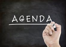 Agenda com escrita da mão imagens de stock royalty free