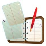 Agenda con dos hojas de vuelo y la pluma roja Fotos de archivo libres de regalías