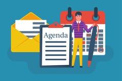Agenda concept. Businessman at writing agenda royalty free illustration