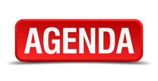Agenda czerwony trójwymiarowy guzik na białym tle Obraz Stock