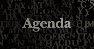 Agenda - 3D odpłacająca się kruszcowa typeset nagłówek ilustracja ilustracji