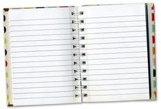 Agenda de cahier à l'intérieur des pages Photographie stock