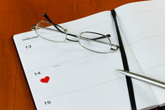 Agenda de jour de Valentines Photo stock