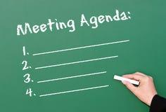 Agenda de la reunión de la pizarra Fotografía de archivo libre de regalías