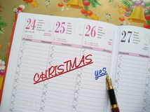 Agenda de Noël Photo stock