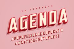 Agenda display font design, alphabet, typeface, letters and numb Royalty Free Stock Photo