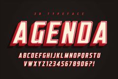 Agenda display font design, alphabet, typeface, letters and numb Stock Image