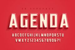 Agenda display font design, alphabet, typeface, letters and numb Royalty Free Stock Photos