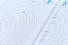 Agenda dzienniczka planista z set datą Obrazy Stock