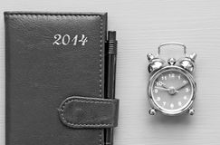 Agenda en klok Stock Foto's