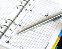 Agenda en Pen Royalty-vrije Stock Fotografie