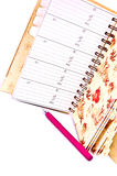 Agenda et crayon lecteur rose Photo libre de droits