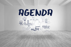 Agenda with flowchart written in bright room Royalty Free Stock Photos